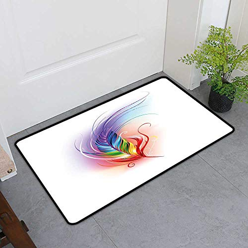 Welcome Front Mat, Rainbow Custom Out-Imdoor Rugs for Kitchen, Rainbow Feather Drawn in an Artistic Manner Cool Smooth Color Transition Fantastic (Multicolor, H20 x W32) 8' Runner Transitions Runner