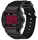 Digital LED Back Light Screen Stopwatch Sport Watch Youth Casual Couple Watches Boys Black+Red