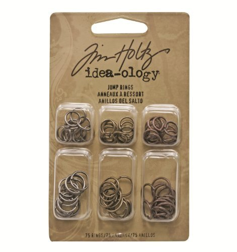 Metal Jump Rings by Tim Holtz Idea-ology, 75 Rings per Pack, 36 of the 5/16 Inch and 39 of the 3/8 Inch, Antique Finishes, TH92726 by ADVANTUS CORPORATION ()
