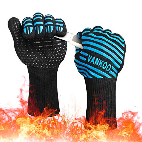 VANKOO Extreme Heat Resistant 932F BBQ Gloves,Kitchen Oven Mitts,Silicone Non-Slip Cooking Gloves for Grilling, Cutting, Frying, Baking Premium Insulated Durable Fireproof Mitts (1 Pair)