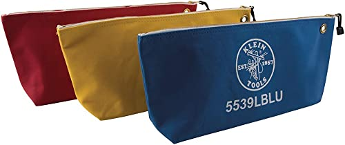 Klein Tools 5539LCPAK Canvas Zipper Pouch, 16-Inch Tool Bag Storage Organizer, Assorted Colors, 3 Pack
