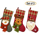 NONZERS Lovely Christmas Stockings-Classic Christmas Stockings,3 Pcs of Xmas Gift Candy Bag,Santa Snowman Reindeer Toys Stockings,3D Applique Style Christmas Stockings Decoration for Kids (17.7Lx7.5W)