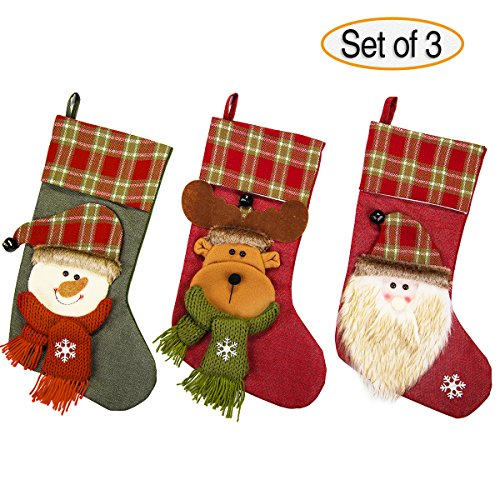NONZERS Lovely Christmas Stockings-Classic Christmas Stockings,3 Pcs of Xmas Gift Candy Bag,Santa Snowman Reindeer Toys Stockings,3D Applique Style Christmas Stockings Decoration for Kids (17.7Lx7.5W) by NONZERS