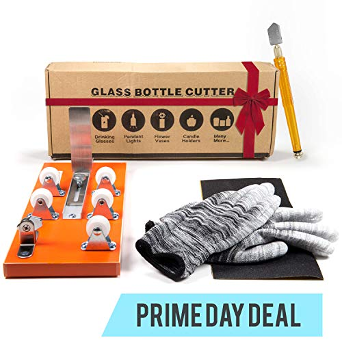 Stained Glass Lamp Kit - Bottle Cutter & Glass Cutter Bundle - DIY Machine for Cutting Wine, Beer, Liquor, Whiskey, Alcohol, Champagne, Water or Soda Round Bottles & Mason Jars to Craft Glasses - Accessories Tool Kit, Gloves