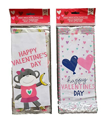 50 Valentine Candy Treat Loot Bags (2 Packs of 25) ()