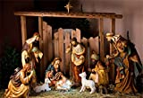AOFOTO 8x6ft Barn Interior Manger Scene Backdrop Christ Child Birth of Jesus Nativity Shepherd Photography Background Lamb Horse Stable Farmhouse Pray Bible Baptism Church Concert Photos Studio Prop