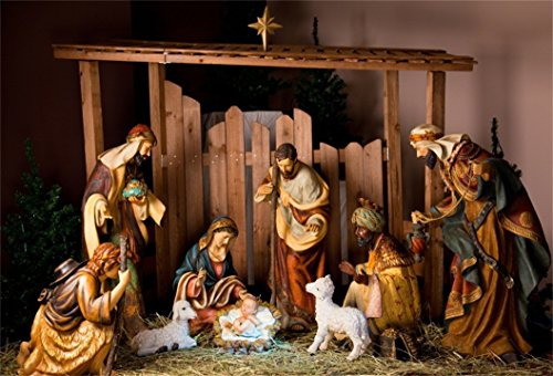 AOFOTO 8x6ft Christ Birth Backdrop Jesus Nativity Photography Background Shabby Stable Pray Bless Bible Scene The Epiphany of Our Lord Christ Photo Studio Props Video Drop Vinyl Xmas Wallpaper Drape Xmas Scenes Wallpaper