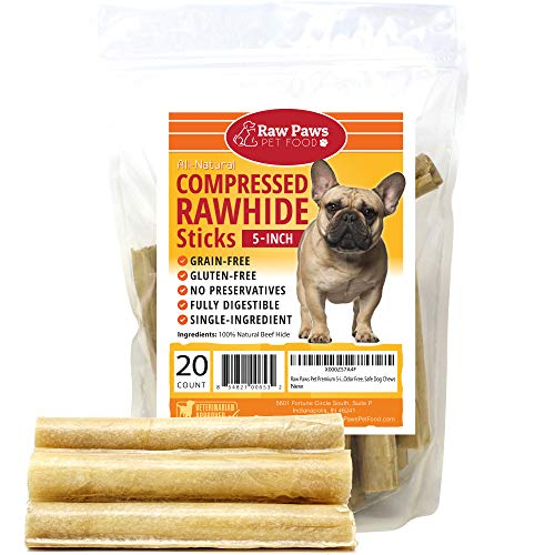 Raw Paws Pet Premium 5-inch Compressed Rawhide Sticks for Dogs, 20-Count - Packed in The USA - Natural Rawhide Dog Chews - Rawhide for Small Dogs & Puppies - Safe Rawhide Rolls ()