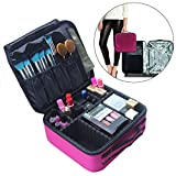 Chomeiu Rose Red Makeup Case, Cosmetics Makeup Bag Organizer Travel Makeup Train Case Multi-function Accessories Tool Storage Bag 10 inch Makeup Brush Pocket Bag With Adjustment Partition