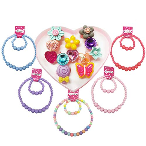 IDOXE 17pcs Value Set Baby Jewelry Set for Girls, Solid Chunky Bubblegum Beaded Necklace Bracelet with Cartoon Animal Flowers Fruit Rings Box Baby Girl Party Play Jewelry