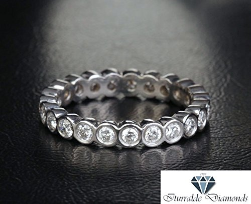 Band Eternity Diamond Bezel Set (Full Eternity Bezel Set Diamond Wedding Band or Ring 14k Gold)