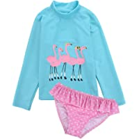 Aablexema Two Piece Swimsuits for Girls - Kids Girls Long Sleeve Rash Guard Bathing Suit with UPF 50+
