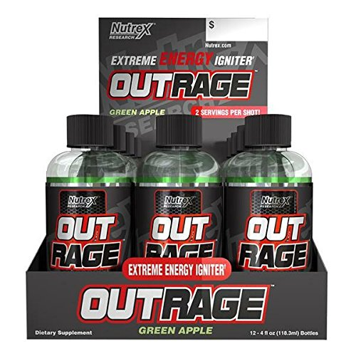 Nutrex Outrage Shot Green Apple, Green Apple, 12 Count by Nutrex Research