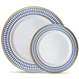 Laura Stein Designer Dinnerware Set of 64 Premium Plasic Wedding/Party Plates: White, Blue Rim, Gold Accents. Set Includes 32 10.75' Dinner Plates & 32 7.5' Salad Plates | Midnight Blue