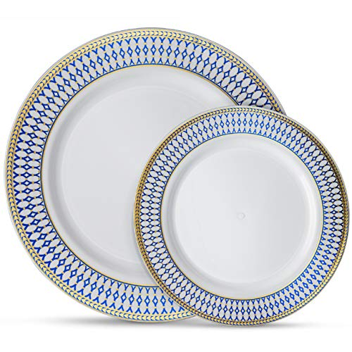Laura Stein Designer Dinnerware Set of 64 Premium Plasic Wedding/Party Plates: White, Blue Rim, Gold Accents. Set Includes 32 10.75