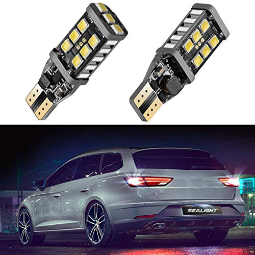 SEALIGHT 912 921 LED Backup Light Bulbs, T15 906 W16W for Back Up Lights Reverse Lights, 6000K Xenon White, 1000 Lumen High Power 2835 15-SMD Chipsets Extremely Bright Error Free, - Coupe 2005 Infiniti Sport G35