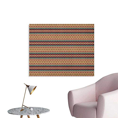 (Anzhutwelve Native American Wall Paper Seamless Pattern with Aztec Motifs Horizontal Stripes Custom Poster Beige Turquoise and Burgundy W28 xL20)