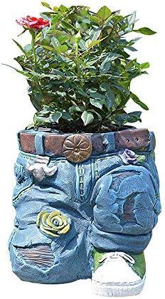 マイクロ風景ガーデン装飾、 バルコニーの庭の装飾フラワーポットヴィンテージジーンズ風景スカイテラスコートヤードアート飾り (Color : Blue, Size : 19x16cm)