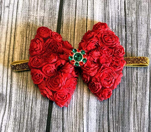 Christmas baby headband - xmas baby headband - green girls bow - gold headband - My first christmas - 1st xmas - baby headband - 1st christmas headband - red headband - green headband ()