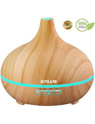 Essential Oil Diffuser,XPLUS 300ml Aroma Diffuser Aromatherapy Ultrasonic Cool Mist Humidifier with Color LED Lights Changing for Baby Office Home Bedroom Living Room Study Yoga Spa (Wood Grain)