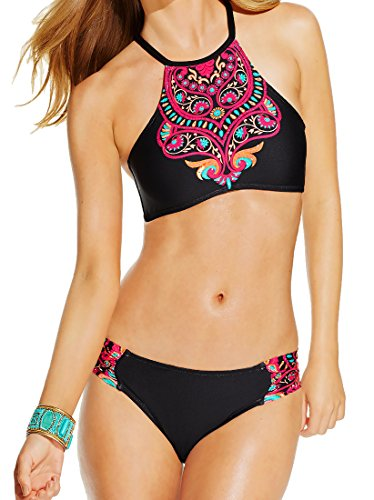 Kenneth Cole 2 Piece Bikini Set - High Neck Swarovski Crystal Halter Top & Hipster Brief Small, Black