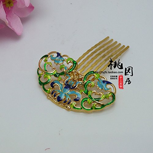 custom alloy cloisonne bluing Ming and Qing Han Chinese clothing accessories hairpin comb plate woman Square with money