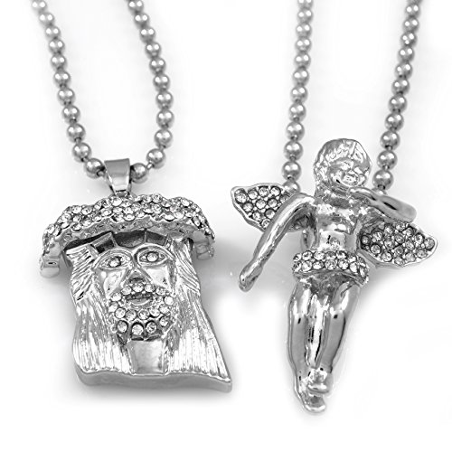 WHITE GOLD Jesus Angel Piece COMBO SET PENDANT (Iced Out Combo)