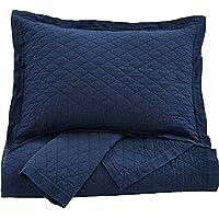 Ashley Furniture Signature Design - Alecio Quilt Set - Includes Quilt & 2 Shams - Queen Size - Navy Blue