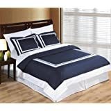 3 Piece Cal King Size Hotel Wrinkle Free Navy and White Duvet Cover Set, 100% Egyptian Cotton