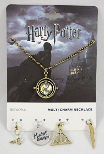 Harry Potter Multi-Charm Pendant Necklace Set Time Turner Glasses DH Bolt