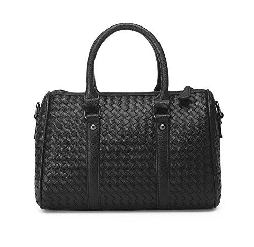 Hoxis Classical Woven Faux Leather Boston Tote Purse Shoulder Handbag Womens Bowler Satchel (Black)