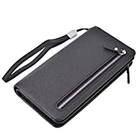 Women Lady RFID Leather Wallets Clutch Zipper Purse Credit Card Holder Case Girl (Black)