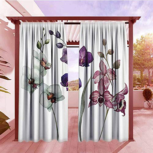 (Curtains Rod Pocket Two Panels Watercolor Flower Decor Collection Different Kind of Orchid Flower on Clear Background Exotic Blossoms Art Waterproof Patio Door Panel W84x96L White Pink Violet)