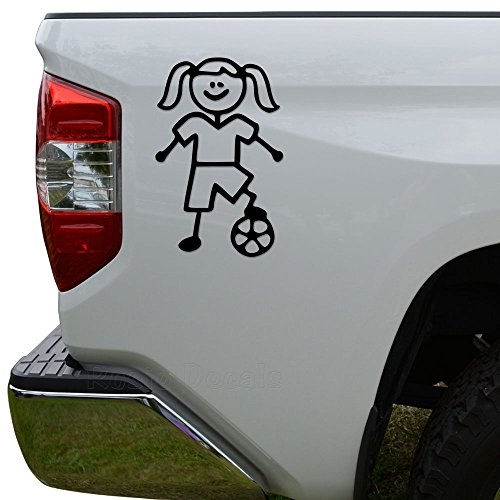 - Rosie Decals Girl Soccer Stick Figure Family Stick Figure Family Die Cut Vinyl Decal Sticker For Car Truck Motorcycle Window Bumper Wall Decor Size- [6 inch/15 cm] Tall Color- Matte White
