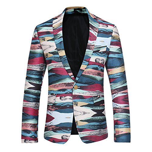MiNi Men's Modern Slim Fit Business Casual Floral Pattern Suit Jacket Blazer (025 - Fair Shops Erina