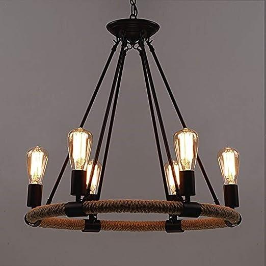 Ladiqi 6 Lights Industrial Vintage Indoor Chandelier Hemp Rope Farmhouse Hanging Pendant Lighting Fixture for Kitchen Living Room Dining Room