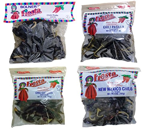 Bolner's Fiesta Extra Fancy Dried Chili Pods Large Bag 4 Flavor Variety Bundle, (1) each: New Mexico, Ancho, Cascavel (Guajillo), Pasilla - 5-8 Ounces