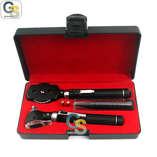 Otoscope Ophthalmoscope (G.S LED POCKET OTOSCOPE SET !DOUBLE HANDLE ! 2 FREE REPLACEMENT BULBS ! BRIGHT WHITE LIGHT LED BEST QUALITY)
