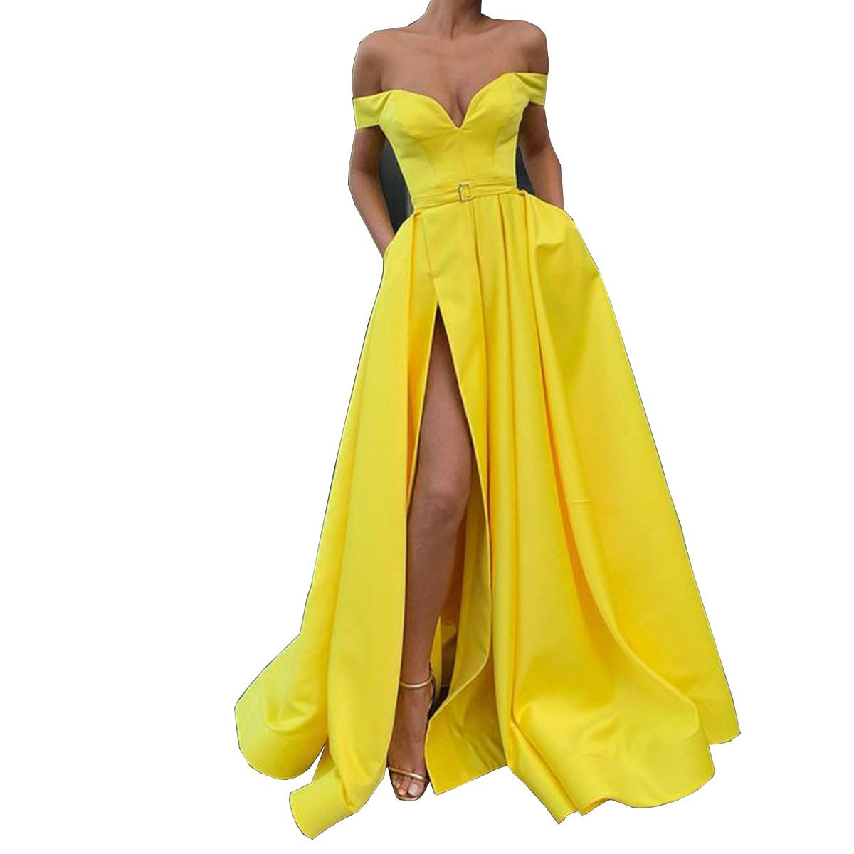 Yellow CCBubble Womens Long Satin Prom Dresses Off Shoulder High Slit Formal Evening Wedding Party Dress