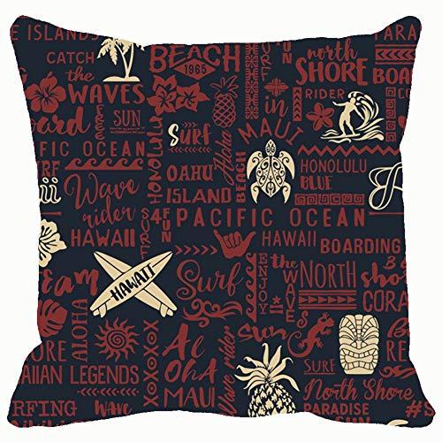 Classic Surfing Hawaiian Islands Beauty Fashion surf Throw Pillows Covers Accent Home Sofa Cushion Cover Pillowcase Gift Decorative 18x18 ()