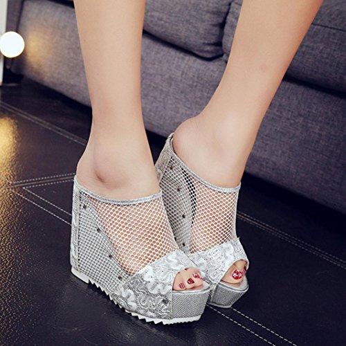 Ouneed ® Las mujeres señoras verano hueco alta cuña Flip Flops Plata