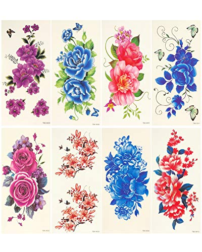 (Wrapables A71418c Floral Body Art Water (8 Sheets) Temporary Tattoos, Roses & Peonies 8)