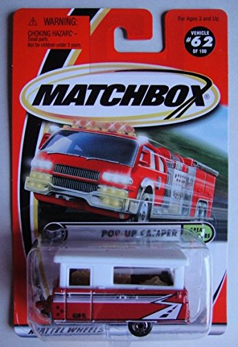 MATCHBOX GREAT OUTDOORS RED/WHITE POP-UP CAMPER #62 (Pop Up Camper Toy compare prices)