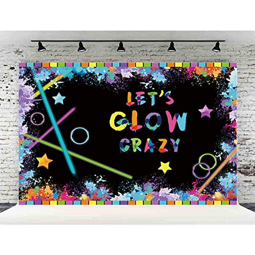 Allenjoy 7x5ft Shiny Let's Glow Crazy Neon Party Decoration Photography Backdrop Graffiti Spray Paint Disco Retro Dance Background Photo Shoot Booth -