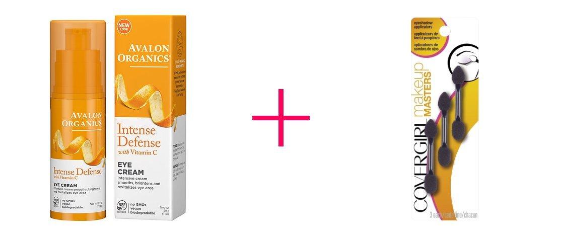 Avalon Organics Vitamin C Renewal Revitalizing Eye Cream (2pc AND CoverGirl Makeup Masters Eyeshadow Applicators - BUNDLE)