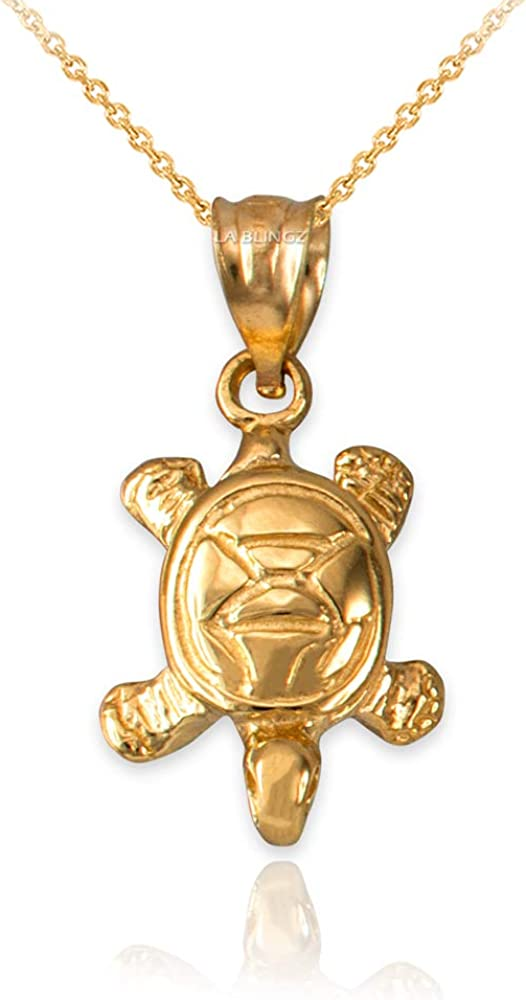 LA BLINGZ 14K Yellow Gold Hawaiian Honu Sea Turtle Necklace