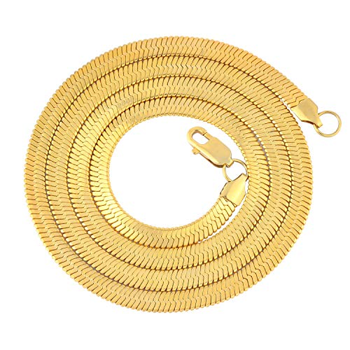 PY Bling Herringbone Chain 6mm 14k Gold Plated Flexible Link Chain Women's Men's Stainless Steel Bracelet/Necklace-Hip Hop Jewelry 7 to 30 inches (30)