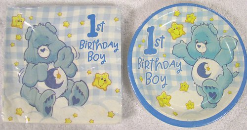 Care Bears First 1st Birthday Boy Party Supplies ~Desser Plates & Luncheon Napkins~ (Birthday Care)