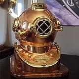Full-Size U.S. Navy Mark V Copper & Brass Diving Helmet Replica with Wooden Base