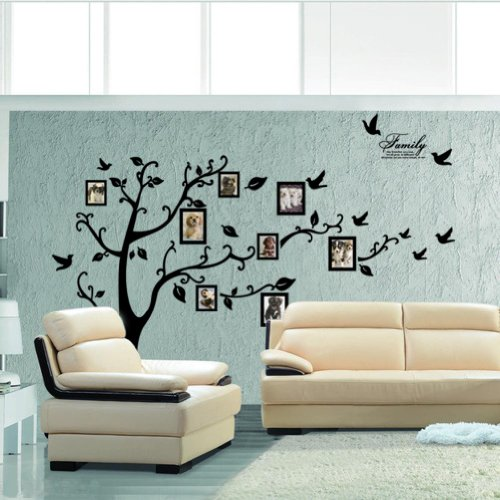 Picture Frame Tree Removable Wall Decor Decal Sticker (BLACK, 1)